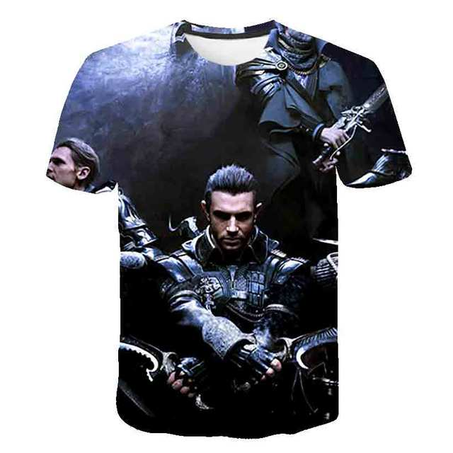 Funny Final Fantasy Soldier T-Shirt for Men O Neck 3D Print Men T Shirts Cloud Video Game Strife Shinra Chocobo Short Sleeve Tee
