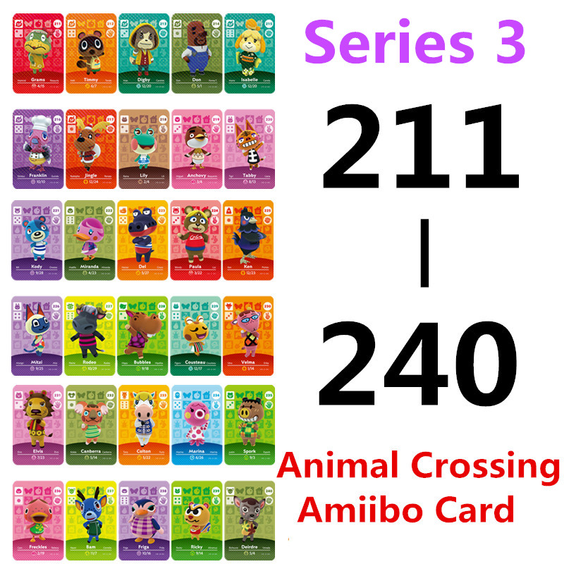 Animal Crossing Card Amiibo Card Work For NS Games Amibo Switch Amiibo Cards Welcome New Horizons NFC (211-240)Series 3