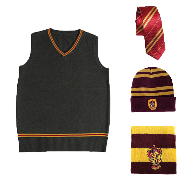4PCS Set Potter Cosplay Gryffindor Sweater Tie Scarf Hat Adult Winter Waistcoat Slytherin Ravenclaw Hufflepuff Costumes D2103AD