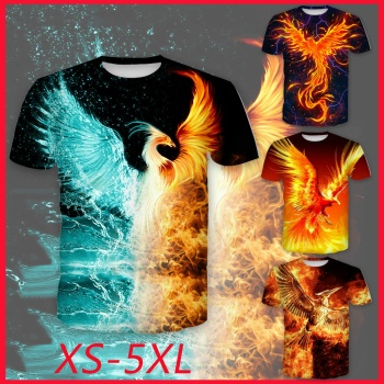 2020 New 3D Printed Fire Phoenix&bird T-Shirt For Men Summer Casual O-neck Short Sleeves Fashion Tops T-shirt Black Clothing Men modish rose letters printing round neck short sleeves 3d t shirt suits for men t shirt shorts