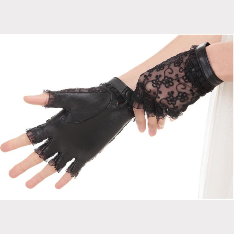 Women Elegant Palm Genuine Leather Back Lace Gloves Half Finger Driving Gloves Fingerless Goatskin Leather Gloves Dancing AGB556