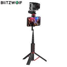 BlitzWolf, BW-BS10, deporte, todo en uno, portátil, bluetooth, trípode, palo Selfie monópodo con 1/4 puerto de tornillo para Gopro 7 6 5, deportes selfie stick trípode para teléfono para Huawei Mobile