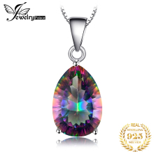 цены Brand New Set 4.5ct Genuine Rainbow Fire Mystic Topaz Classics Concave Pear Pendant Necklace Women Solid 925 Sterling Silver