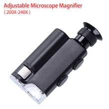 Hot!Mini Tragbare Mikroskop Tasche 200X ~ 240X Handheld LED Lampe Licht Lupe Zoom Lupe Lupe Tasche Objektiv