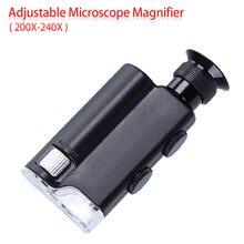 ร้อน!Miniกล้องจุลทรรศน์แบบพกพากระเป๋า200X ~ 240XมือถือLED Light Loupeซูมแว่นขยายแว่นขยายกระเป๋าเลนส์