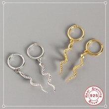 ROXI-pendientes largos de serpiente para mujer, aretes con borla, estilo Punk, de animales, 100% Plata de Ley 925