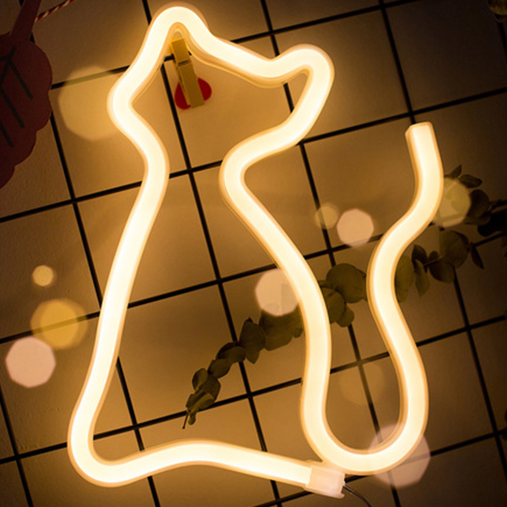 LED Neon Light Sign LOVE CAT Wedding Party Decoration Neon Lamp Valentines Day Wall Hanging Home Decor Night Lamp Christmas Gift image