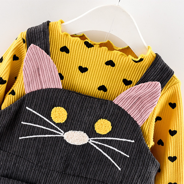 Cute Cat Strap Clothes Sets for Girls 3