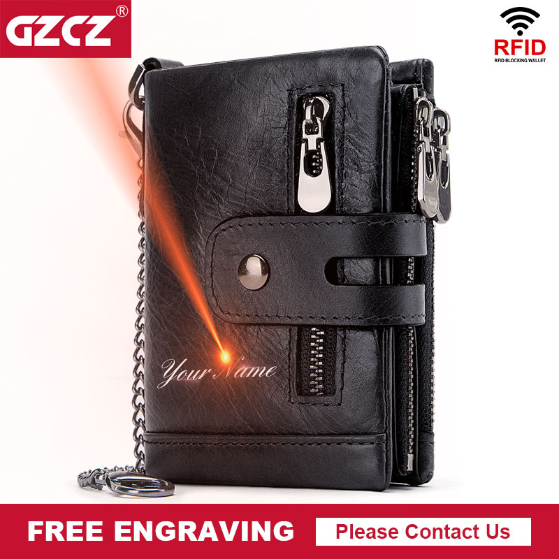 GZCZ Rfid Genuine Leather Men Wallet Coin Purse Small Mini Card Holder Chain PORTFOLIO Portomonee Male Min Walet Free Engraving