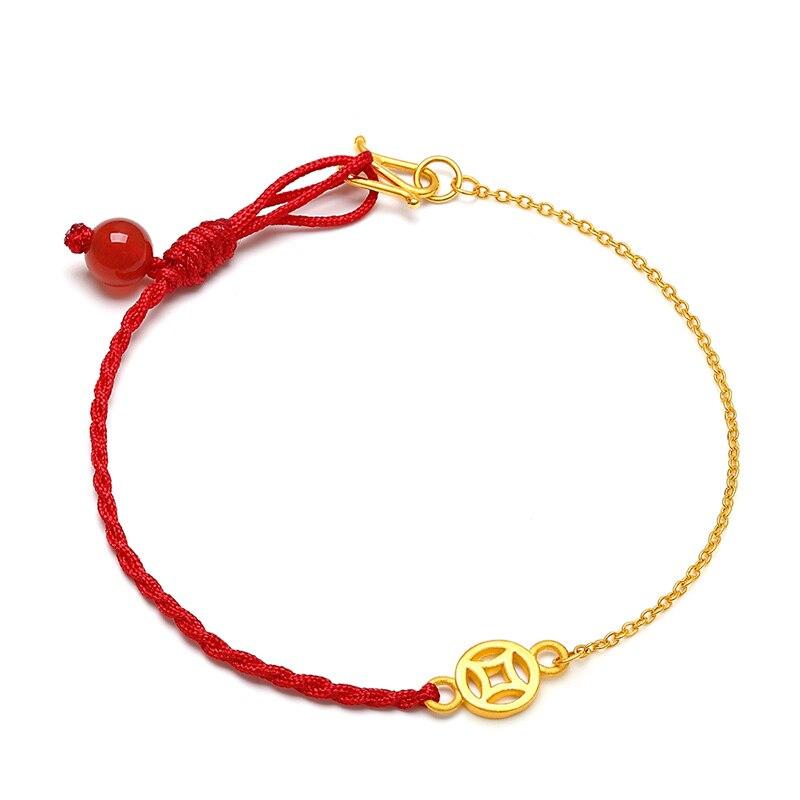 Bracelet en or jaune pur 24K pièce de monnaie 3D