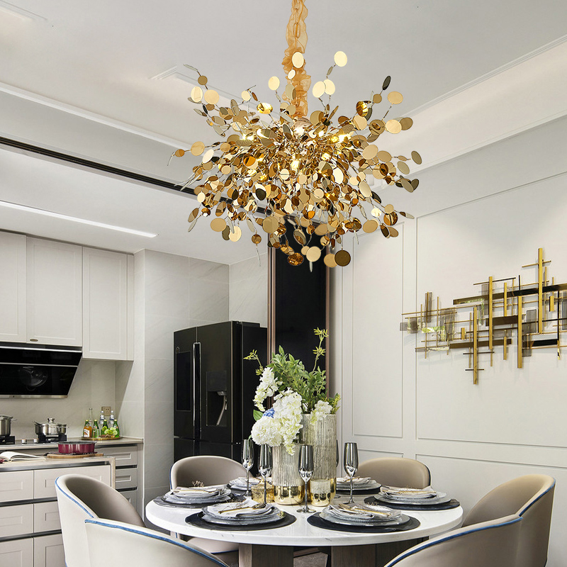 Designer's Post-modern Chandelier Light Luxury Atmosphere Stainless Steel High-grade Living Room Villa Bedroom Creative Dining