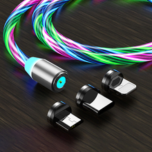 LED Magnetic USB Cable Color Streamer Glow Cord Charging lighting For iphone 8pin Type C For Micro USB Glowing Light Cable 1M