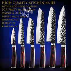 High quality Utility 8'' kitchen Knives 7'' Cleaver fixed chef knife kitchen tools Santoku Slicing Damascus Bread Knives Gif