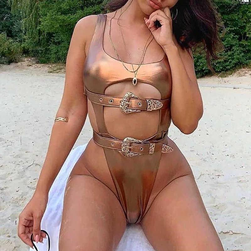 Sexy ceinture bikini string 2019 Push up maillots de bain femmes évider body une pièce maillot de bain femme monokini en cuir baigneurs nouveau