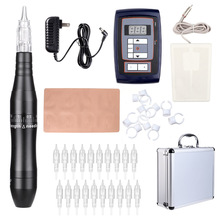 Tattoo Pen Kit Hybrid Rotary Tattoo Machine Permanent Makeup Pen Kit Power Supply 20 Needle Cartridges EK201A stigma tattoo hybrid tattoo pen rotary tattoo machine permanent alloy makeup pen needle cartridges em305 champagne gold color