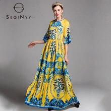 Женское длинное платье seqinyy винтажное элегантное желтое с