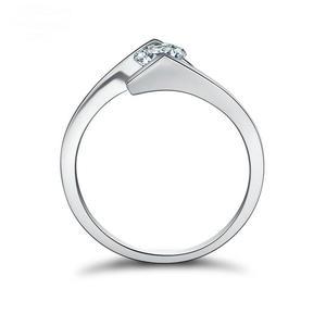 Image 3 - Taille ronde 1*5mm S925 bague en argent Sterling SONA diamant solitaire bague Fine Style Unique amour fiançailles de mariage