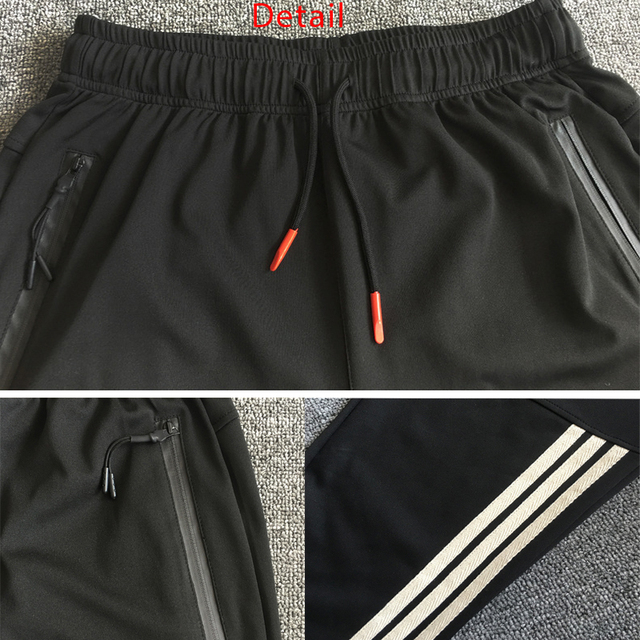 Gym Men's Sport Running Pants Stripes Zipper Pockets Training Pants Workout Athletic Football Soccer Gym Pants Men Sweatpants 6