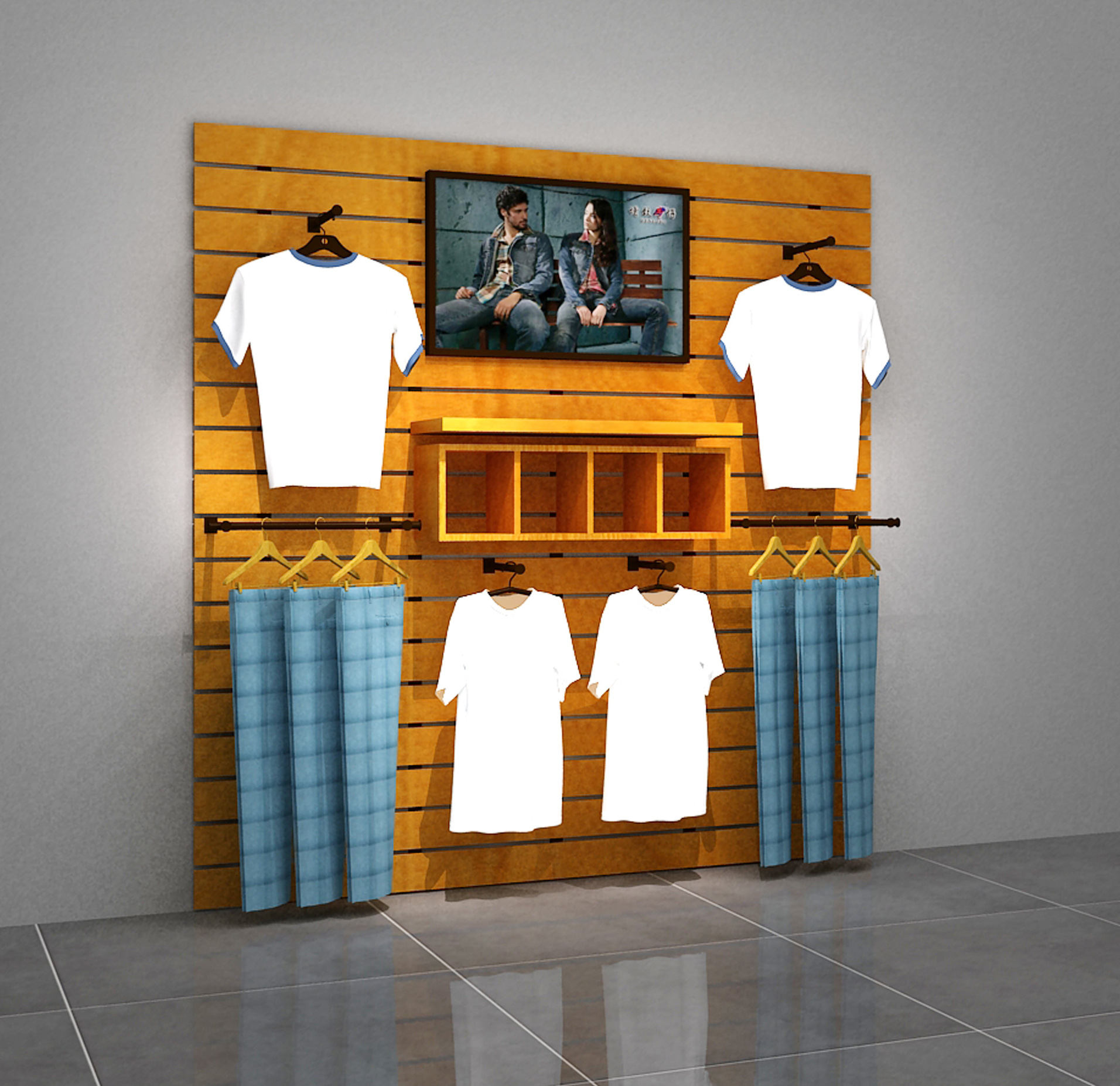 Clothing Shop Showing Stand Fashion Casual Wear Store Showcase Classic High Quality Iron Art Clothing Display Cabinet