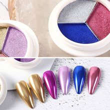 Mixed 3 Colors Mirror Nail Glitter Powder Dust for Metal Effect Chrome Nail Art Solid Powder Pigment Nail Art Decorations