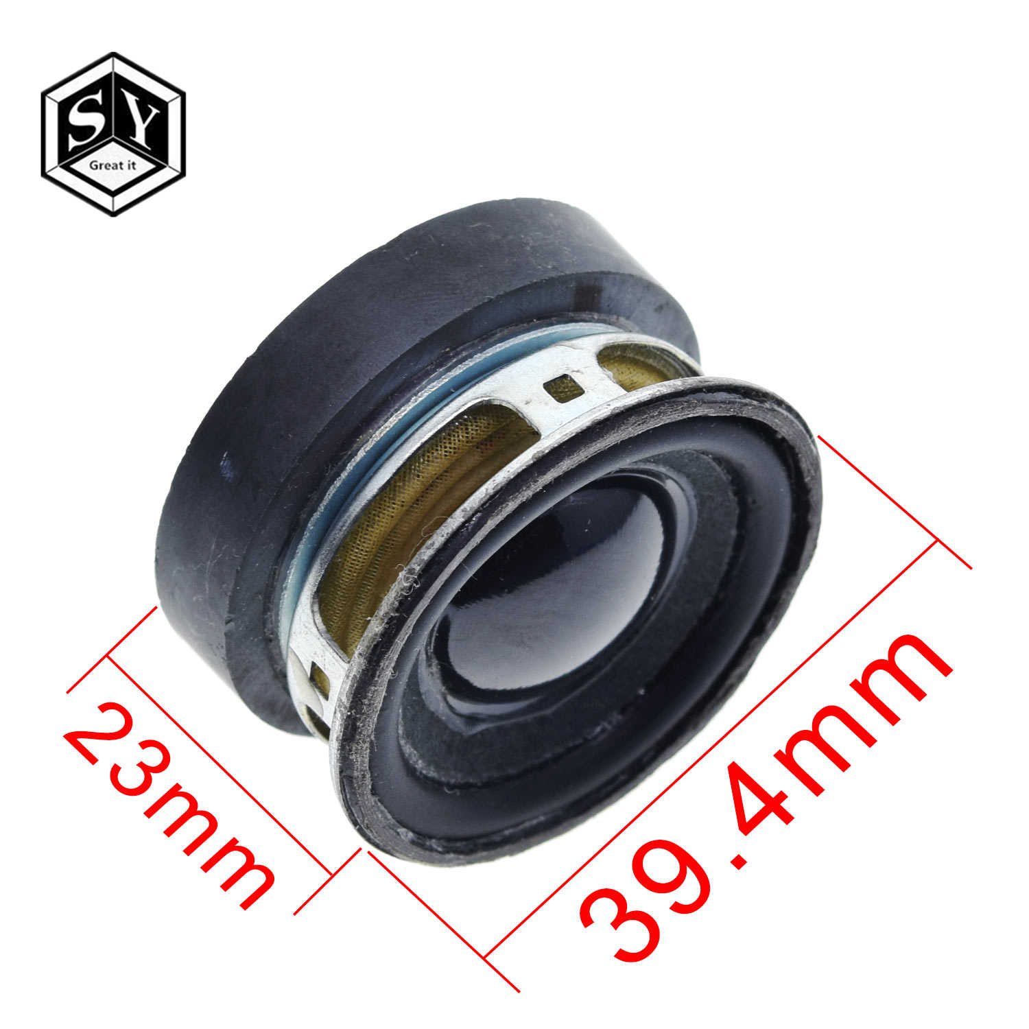 1 Pcs Akustik Pengeras Suara 4R 3W 40 Mm Speaker 36 Mm Magnet Eksternal Topi Hitam PU Edge