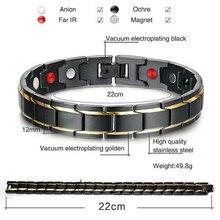 Energia terapêutica cura pulseira titanium aço terapia magnética pulseira pulseiras nin668