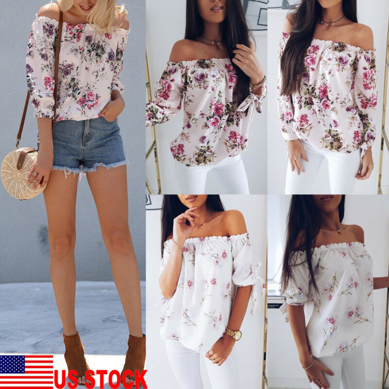 2019 New Fashion Womens Summer Floral Off Shoulder Tops Loose Blouse Casual Shirt Blouse