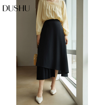 DUSHU High waist black long pleated skirt Women a-line elegant asymmetrical skirt Autumn winter vintage skirt female plus size diamond striped pleated skirt fashion elastic waist a line elegant long skirt for women autumn winter streetwear patchwork skirt