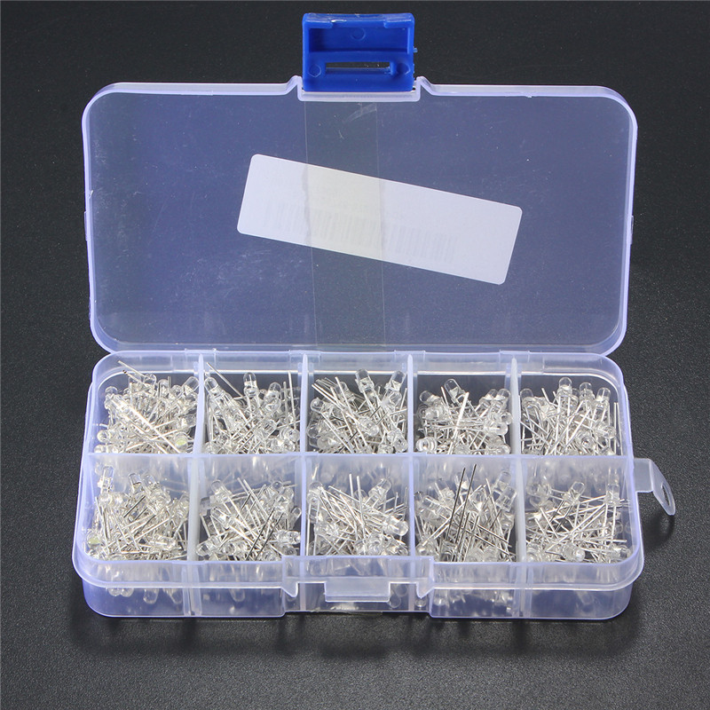300Pcs 3mm LED Diodes Assortment Round Clear Ultra Bright LED Light Emitting Diodes Lamp 5 Color White Yellow Red Blue Green