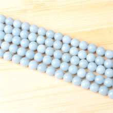 Aquamarine 4/6/8/10/12mm Natural Gem Stone Polished Smooth Round Beads For Jewelry Making DIY Bracelets
