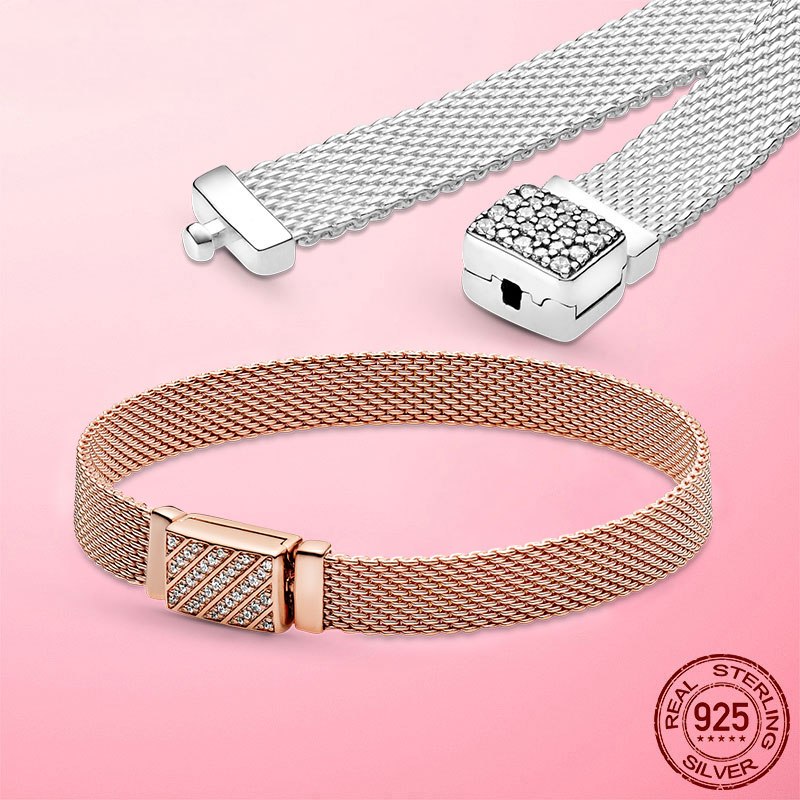 Reflexions Mesh Bracelet 925 Sterling Silver Gold Color Sparkling Clasp Reflexions Bracelet Sterling Silver Jewelry Making Gift