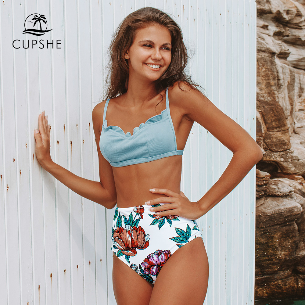 CUPSHE Sweet Blue And Floral High-Waisted Bikini Sets Sexy Padded Swimsuit Two Pieces Swimwear Women 2020 Beach Bathing Suits