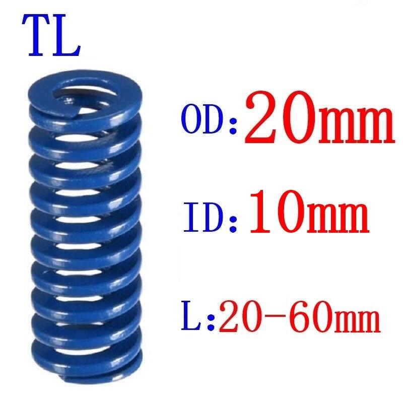1Pcs Blue Light Load Spiral Stamping Compression Mould Die Spring Outer Diameter 20mm Inner Diameter 10mm Length 20-60mm(China)