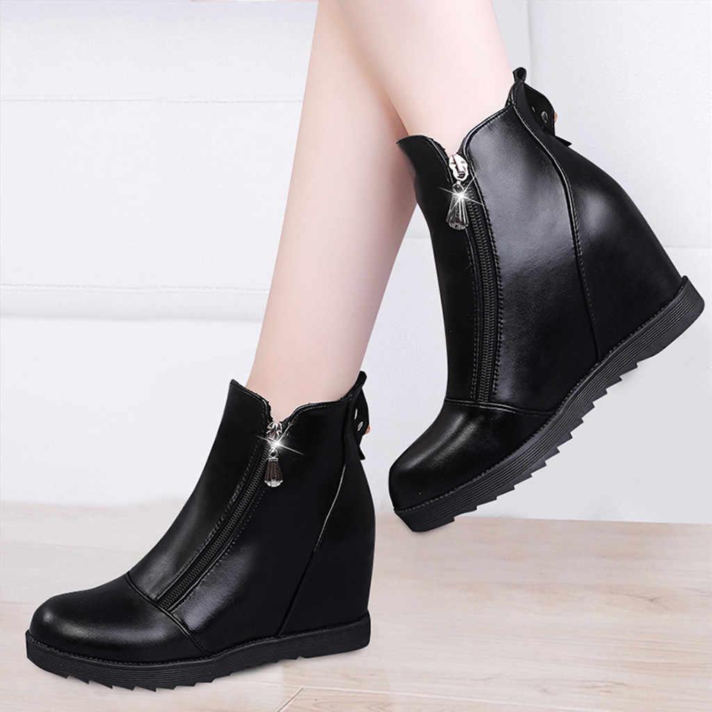 Wit enkellaars voor vrouwen schoenen vrouw hoge hak zwarte Wig laarzen Dame platform enkellaarsjes bota feminina inverno cano #1024g25