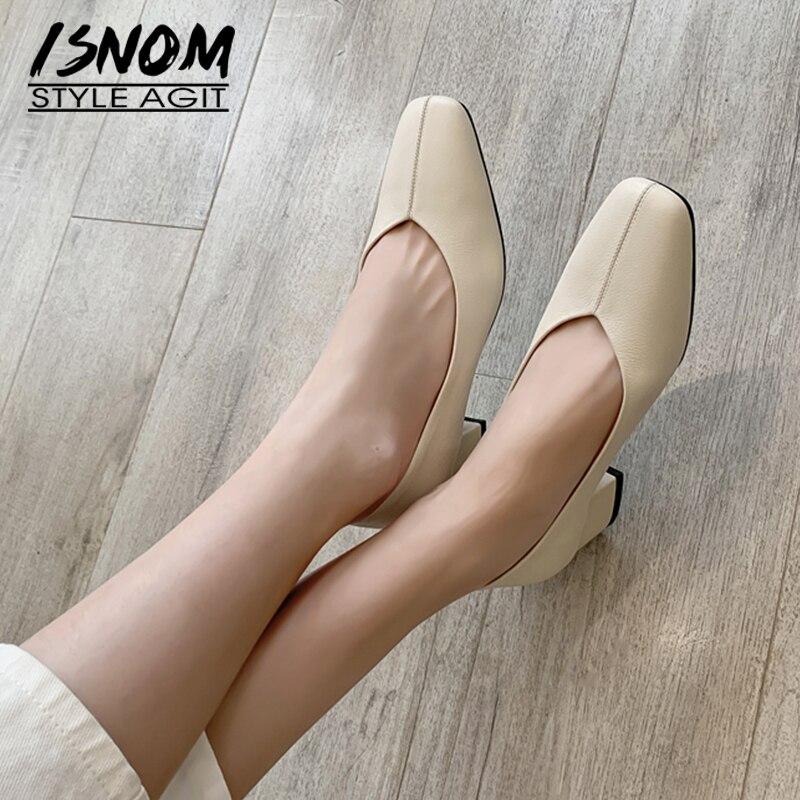 ISNOM 2018 nuevos tacones altos mujeres bombas otoño nueva moda Oficina señoras zapatos de cuero genuino mariposa nudo cuadrado punta calzado KYSZDL gran oferta de alta calidad Natural granate pulsera moda mujer cristal pulsera joyería regalos