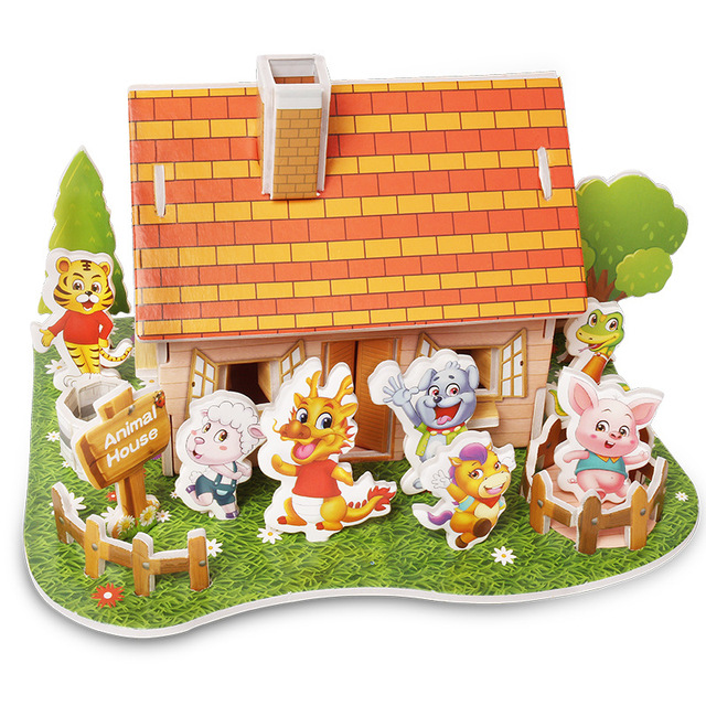 Attractive Cartoon Castle Garden Zoo Princess House 3D Puzzle Jigsaw Paper Model Learning Educational Toys For Children Kid Gift 6