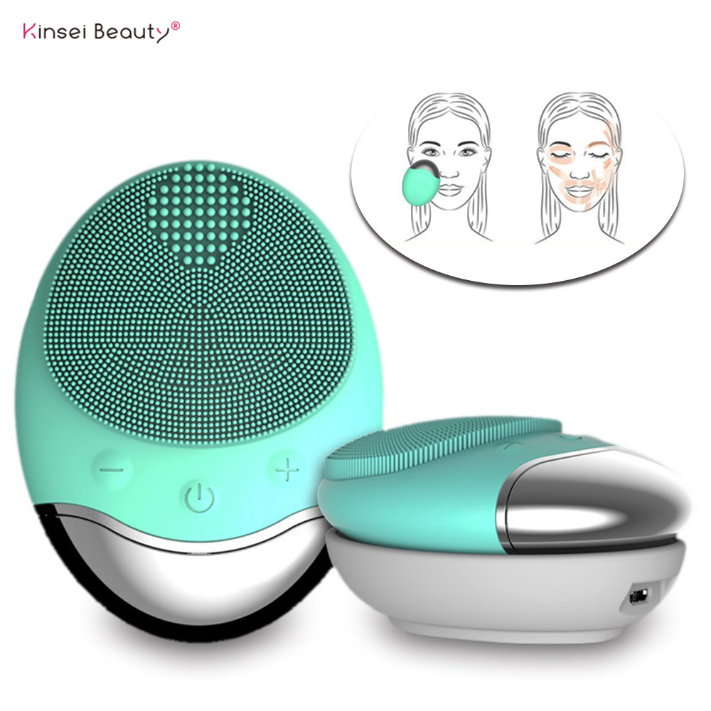Electric Wireless Facial Cleansing Brush Anion Imported Waterproof Bamboo Charcoal Silicone Face Washing Cleaning Massage Brush