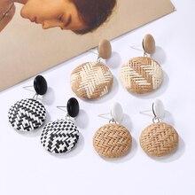 Bohemian Handmade Wooden Rattan Knit Drop Earrings For Women Straw Weave Round Statement Pendant Dangle Fashion Jewelry