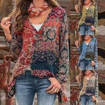 Plus Size 5xl Blouses Elegant Women Bohemian Shirts V-neck Long Sleeve Print Blouse Sexy Loose Shirts Unregular Tops 5xl oversize women blouses casual beach long sleeve v neck loose shirts plus size boho ladies top vintage print summer blusas