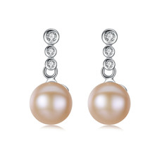 YUEYIN 925 Sterling Silver Earrings 8-9mm 100% Real Nature Pearl Stud for Women Zircon 3 Colors Gift