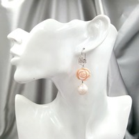 Lily Jewelry Real Peru Pink Opals,White Baroque Pearl 925 Sterling Silver Leaves Long Earrings Women Fashion Jewelry