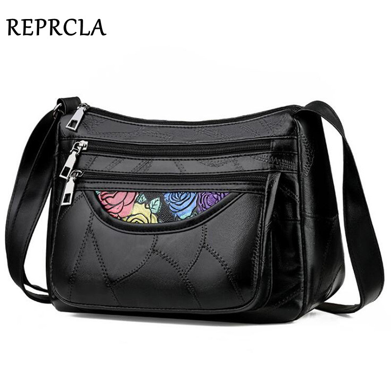 REPRCLA New Leather Women Bag Patchwork PU Shoulder Bags Big Capacity Crossbody Bags For Women Handbag Bolsa Feminina