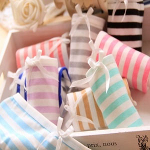 Dihope Women Sexy Panties Stripes Low Waist High Quality Bowknot Cute bow-knot Underwear Female Cotton Soft Nightwear Panties