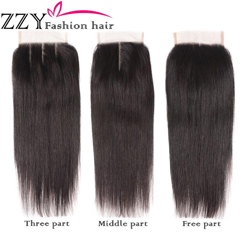 ZZY Fashion Hair Straight Hair Bundles With Closure  Peruvian Hair 3pcs Non Remy Human Hair Bundles With Closure