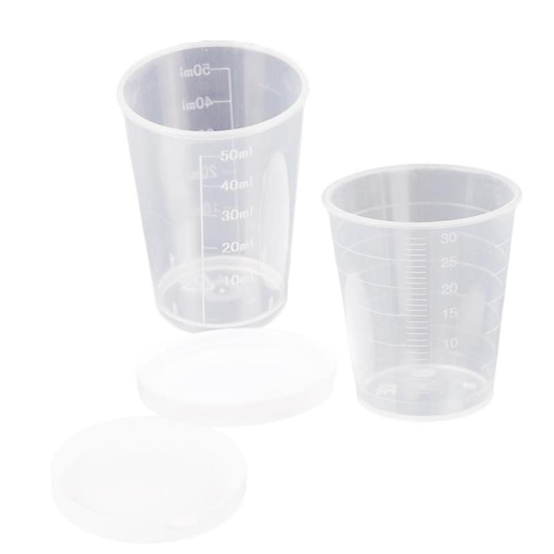 30ml/50ml With Lid With Graduated Measuring Cup Double-sided Scale Cup Liquid Medicine Cosmetic Plastic Small Cup Measuring Cup