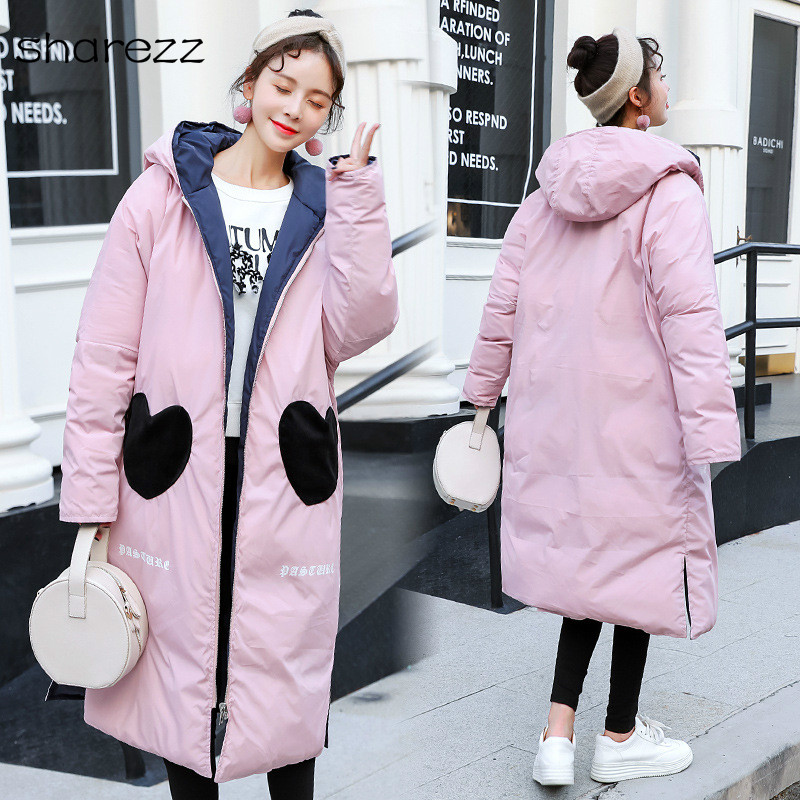 2019 New Design Both Two Heart-shaped Winter Jacket Women Hooded Sweet Outwear Female Double-sided Wearable Winter   Parkas