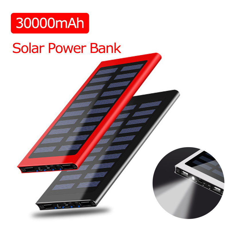 30000mAh Solar Power Bank Portable Waterproof Battery Powerbank Fast Charging External Battery LED For All Smart Phone Iphone