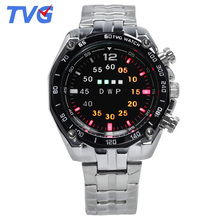TVG Men Watches Men Led Digital Watches Stainless Steel Electronic Wristwatch Men Sports Watches Relogio Masculino reloj hombre cheap 25cm Bracelet Clasp 3Bar Fashion Casual 43mm 13mm Hardlex Shock Resistant LED display Auto Date Complete Calendar Water Resistant
