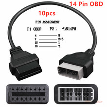 10PCS/lot For Nissan 14Pin Male Extended to OBD2 16Pin Female Connector Diagnostic 14 Pin 16 Adapter Free ship