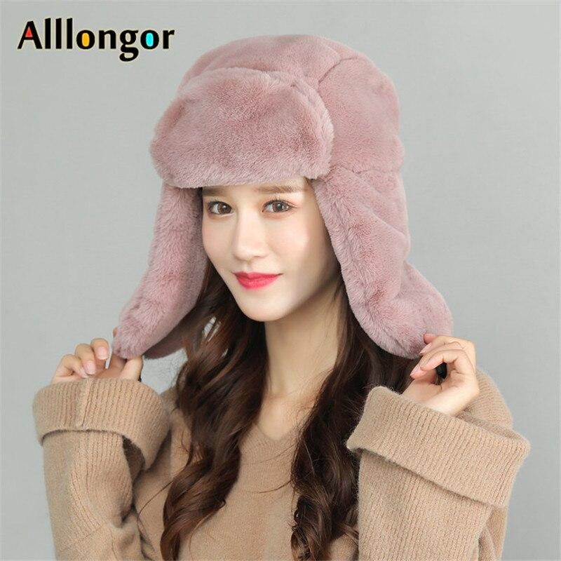 2019 Thick Plush Fur Bomber Hat Warm Winter Soviet Hat Women Trapper Trooper Hats Ear Protect Russian Snow Caps Earflap Bonnet